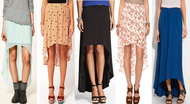 9e7c4cff6f A new style trend for skirts this spring/summer features a unique high-low  hemline. The high-low hemline, short in the front/long in the back, ...